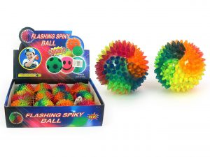 Rainbow Spiky Flashing Ball 75mm - Pack of 3