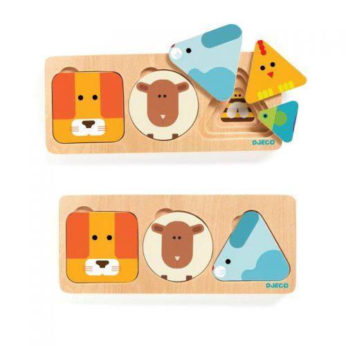 Djeco - Wooden Animal Basics Puzzle